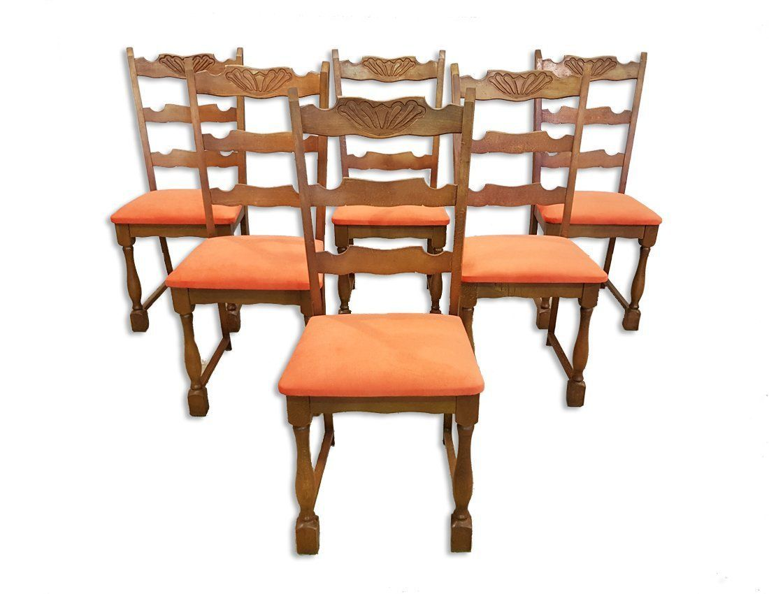 78a7c09282c78 Set of Six Vintage French Newly Upholstered Coral Velvet Ladderback Oak Dining  Chairs