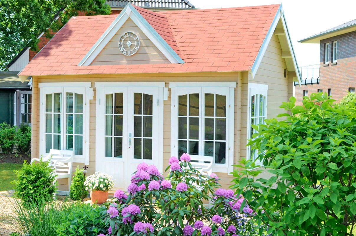 Alpholz 420 Cm X 320 Cm Gartenhaus Clockhouse Wayfair De Backyard Art Studio Cottage Garden Fairy Houses