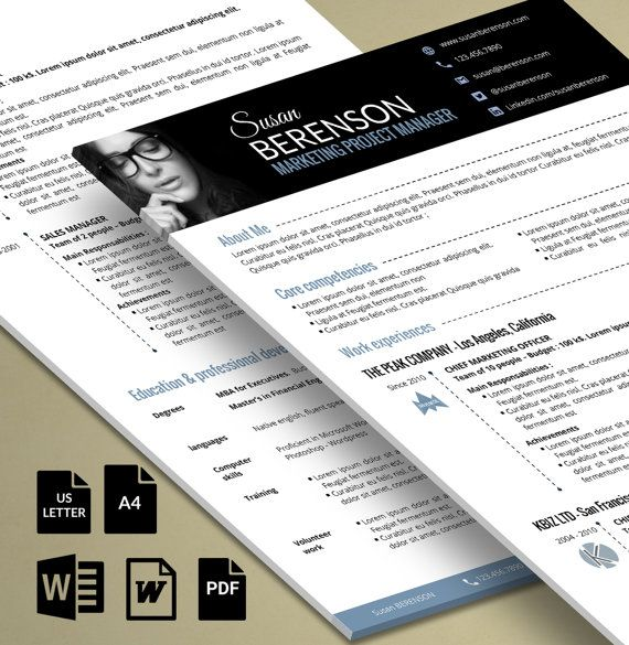 Professional Resume 2 Pages Word With An Impactful Banner Etsy Modele Cv