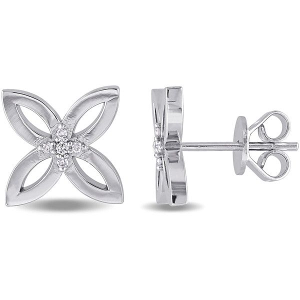 Catherine Malandrino Sterling Silver Four Leaf Stud Earrings... ($281) ❤ liked on Polyvore featuring jewelry, earrings, silver, sterling silver stud earrings, catherine malandrino, formal jewelry, sterling silver butterfly jewelry and formal earrings
