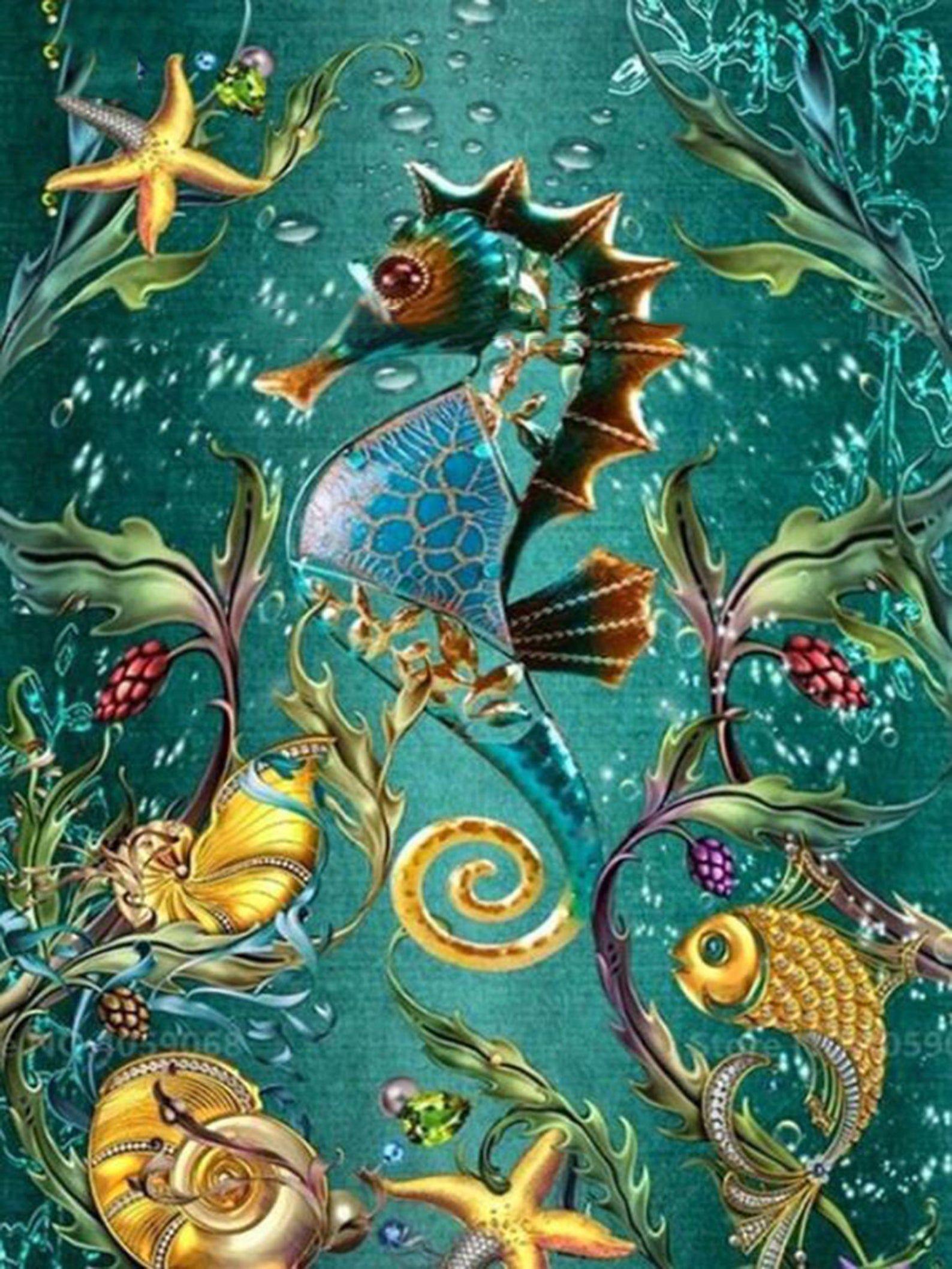 5D Diamond Painting Embroidery Cross Stitch Fish Arts Craft Kit Mural Decor