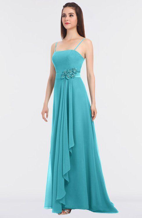 Turquoise Modern A Line Spaghetti Sleeveless Liques Bridesmaid Dresses