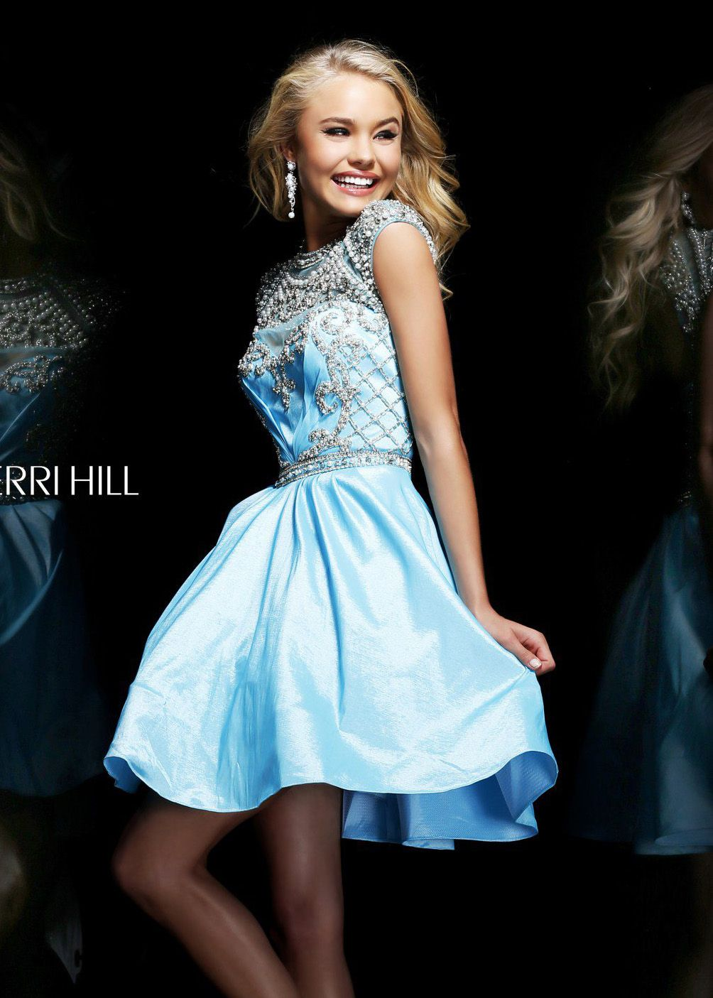 Sherri hill light blue beaded short dress courthouse wedding