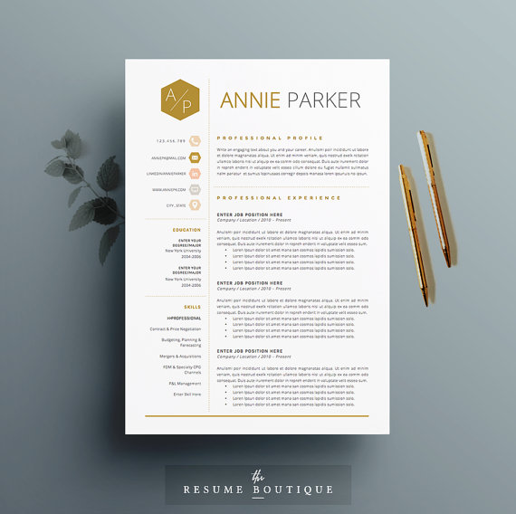 4 page Resume \/ CV Template + Cover Letter for MS Word Instant - word resume cover letter template