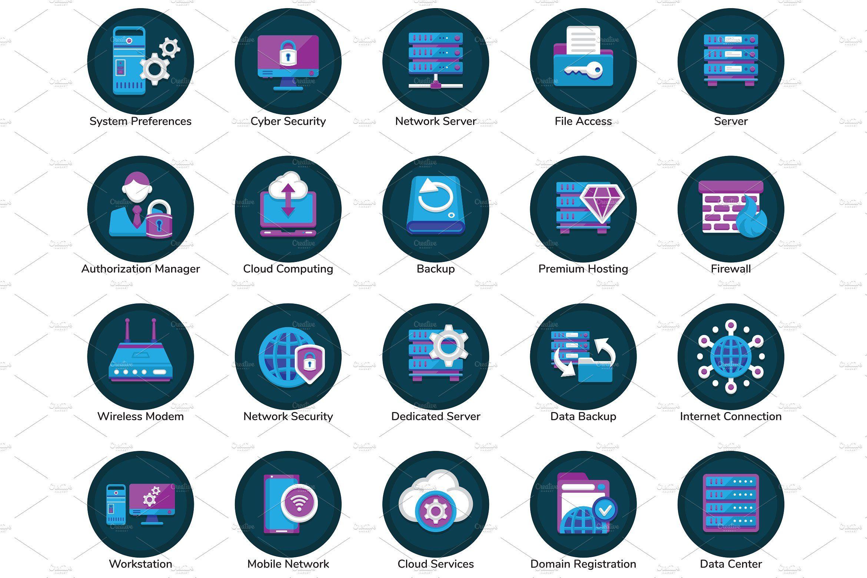 100 Web Hosting Flat Icons
