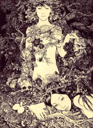 By Vania Zouravliov, death grim reaper Father Time scythe maid girl woman dance danse macabre skull skeleton