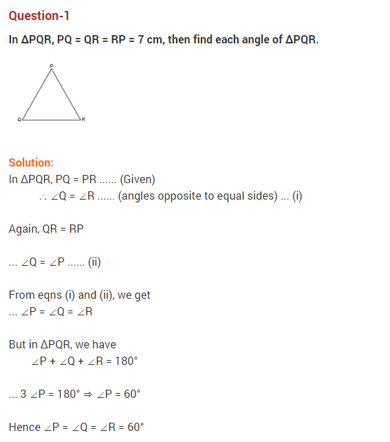 Triangles NCERT extra questions for class 9 maths Chapter-7