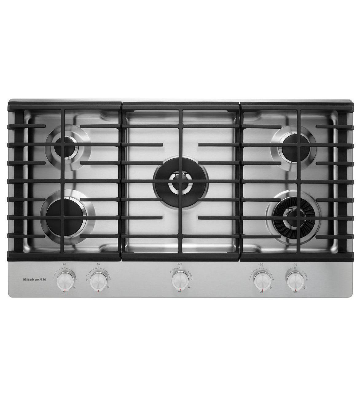 Stainless Steel 36 5 Burner Gas Cooktop Kcgs556ess Kitchenaid Gas Cooktop Cooktop Kitchen Aid