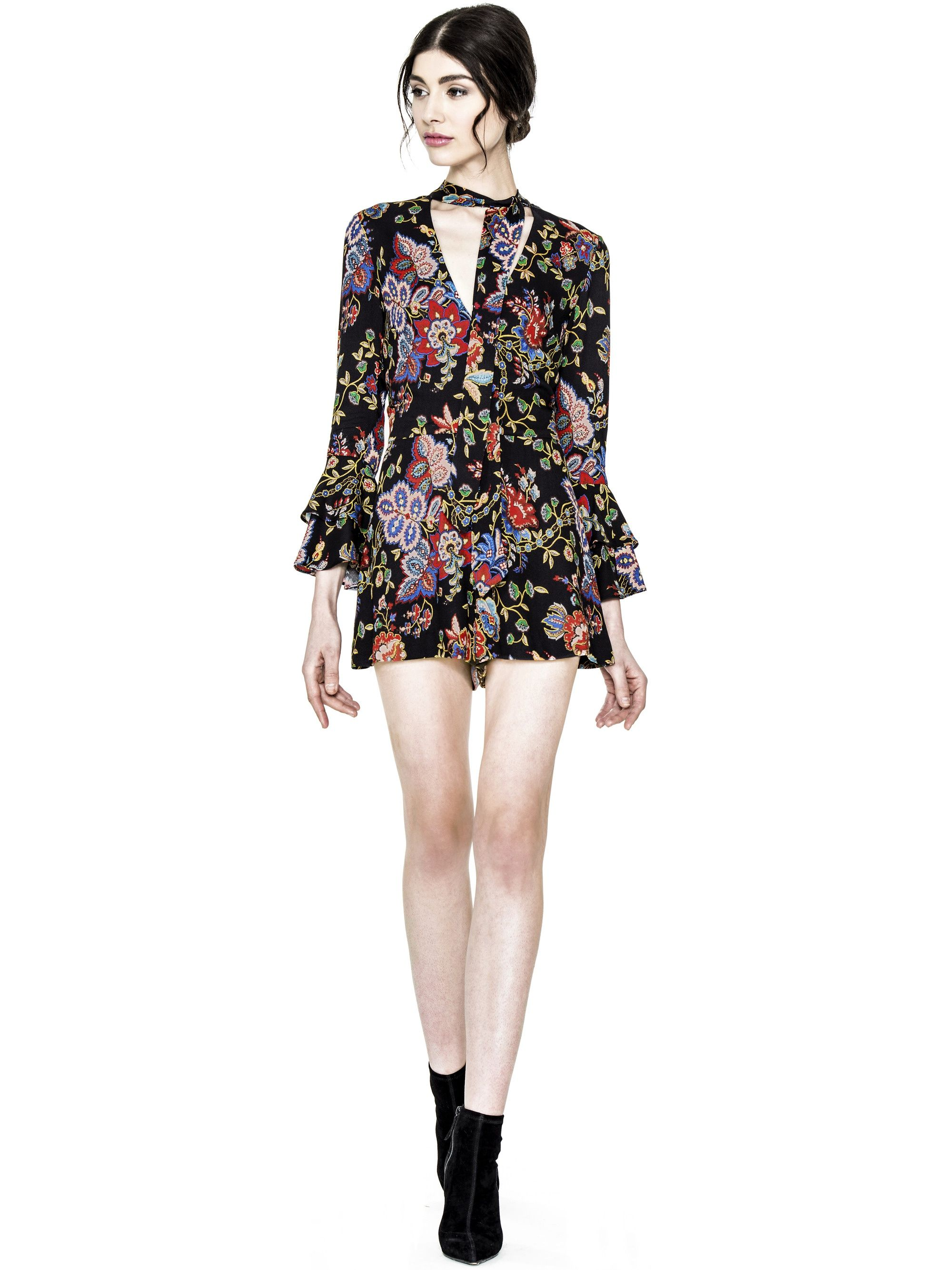 ff1de507c46 MACALL VNECK BELL SLEEVE ROMPER by Alice + Olivia  ad