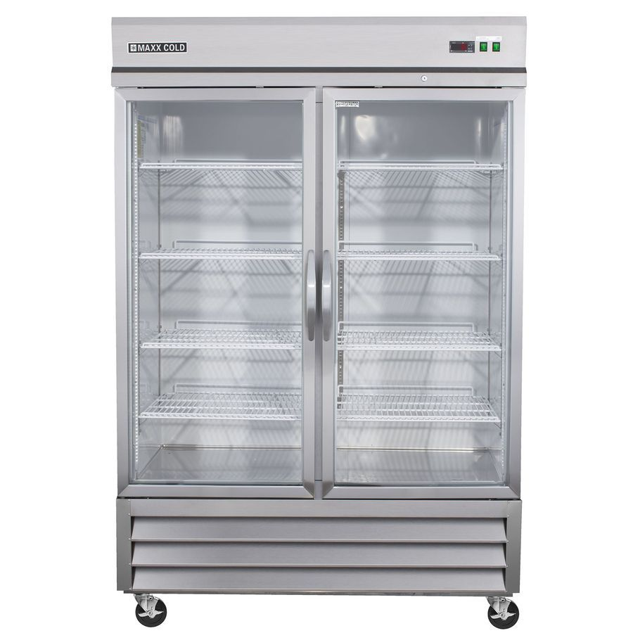Maxx Cold 48 Cu Ft 2 Door Merchandiser Commercial Refrigerator Stainless Glass Mxcr In 2020 Commercial Refrigerators Double Glass Doors Stainless Steel Refrigerator