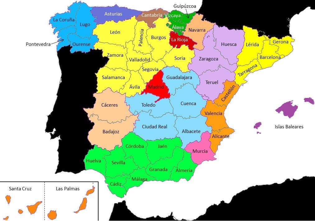 Provincias De España Saber Es Práctico Provincias España Relieve España Mapa De España