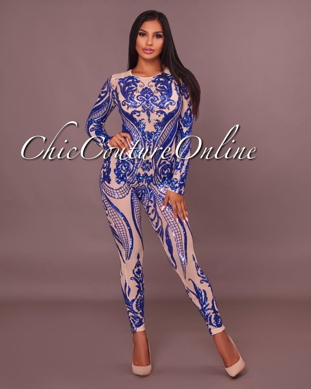 418feb6ff48 Chic Couture Online - Honesty Royal-Blue Sequins Nude Semi-Sheer Mesh  Jumpsuit