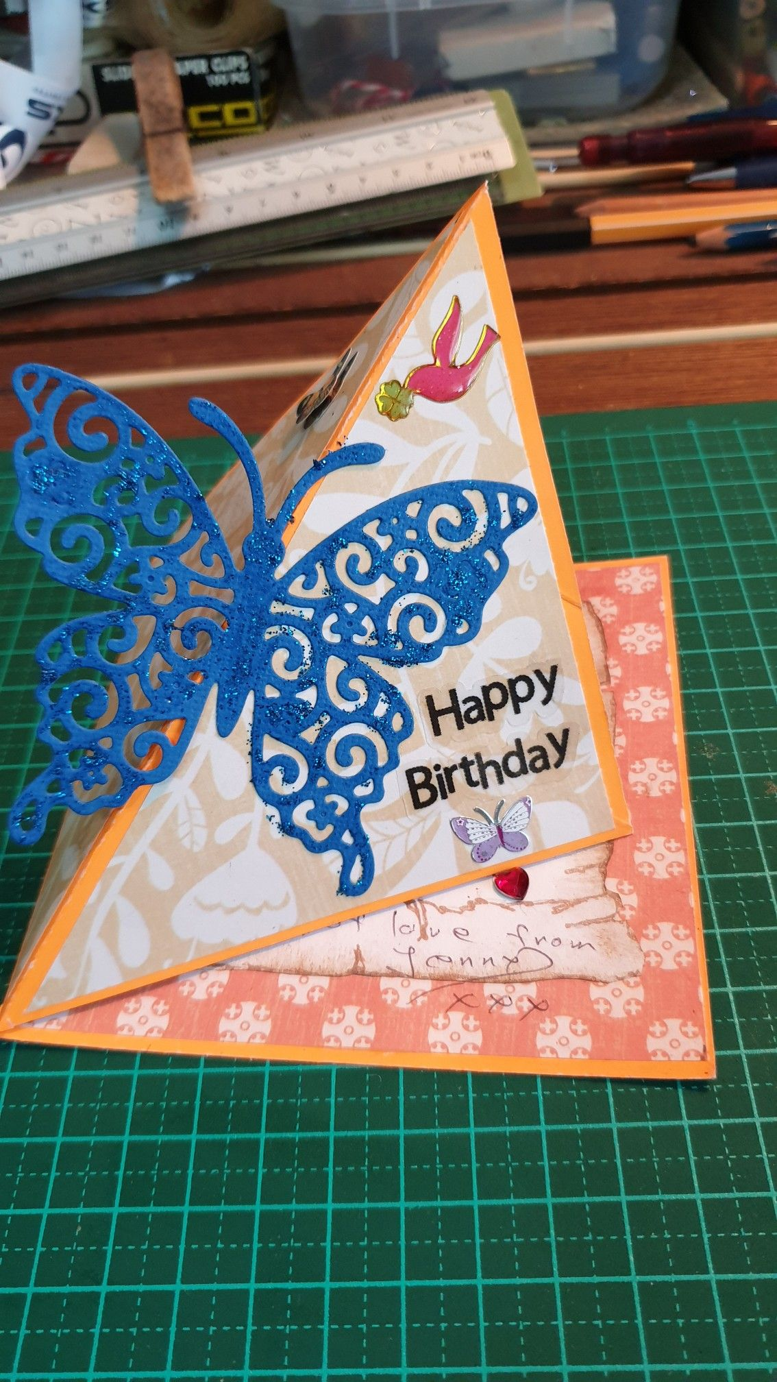 A flying butterfly effect card created by me easy to