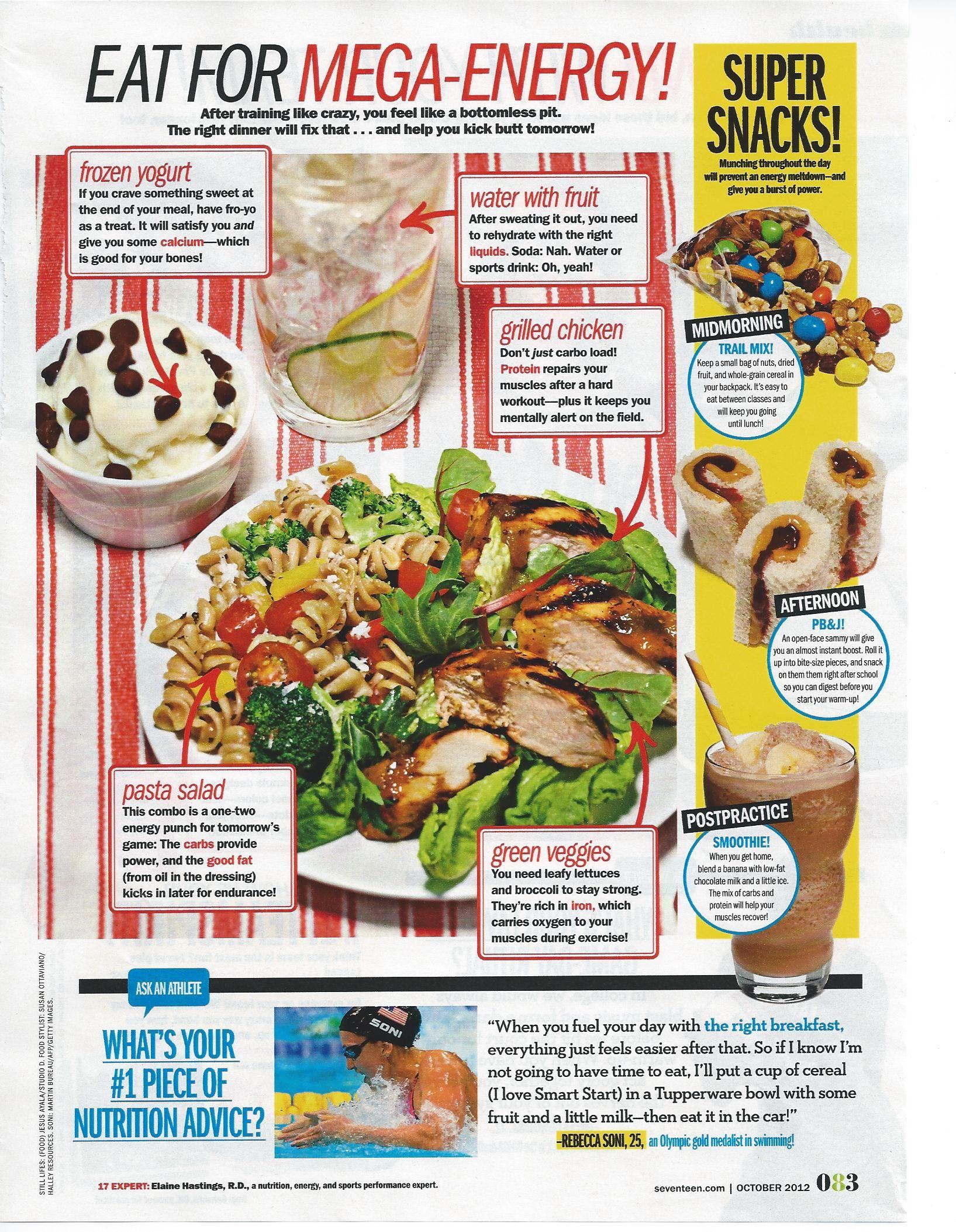 Elaine Sirt Hastings Seventeen Magazine Sports Nutrition Expert Seventeen Eat For Mega Energy Healthy Workout Food Healthy Snacks
