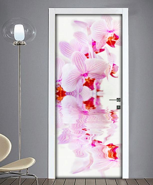 Fiore orchidea rivestimento adesivo per porte adesivo - Porte plastica interne ...