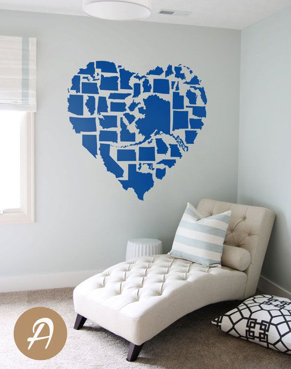 US map United States Map Wall Decal US state map State map Vinyl ...