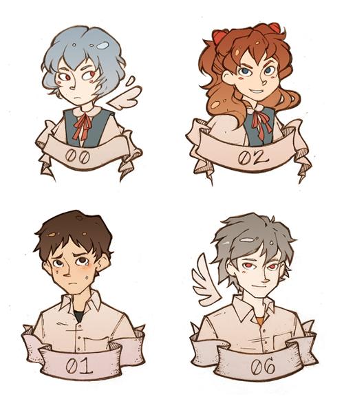 Rei, Asuka, Shinji, and Kaworu