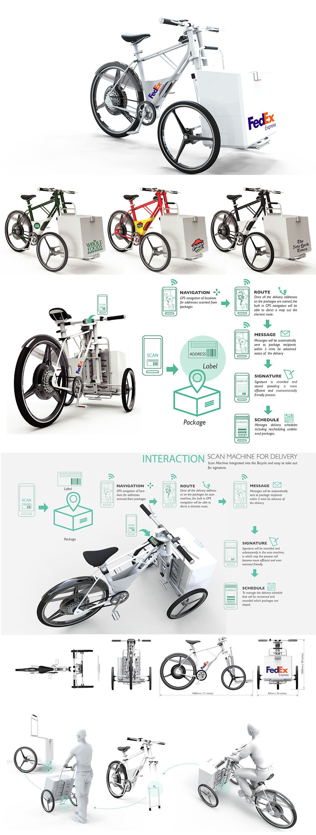 Designed for delivery services, the Cargob Urban Eco-Bicycle a more environmental and efficient space-saving delivery method. #Cargob #Urban #Cycle #Bicycle #Green #Energy #Transport #YankoDesign