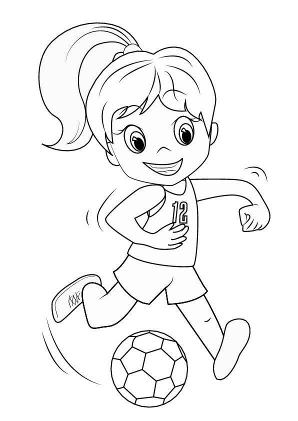 Ausmalbild Mädchen mit Fußball (Malvorlage zum Ausdrucken