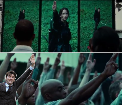 David Tennant saluting Katniss lol