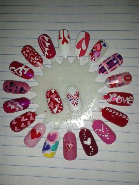 Valentine's day nails. Heart nail art by JenniferBasiaga.