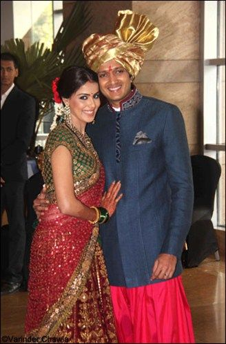 Genelia D'Souza & Ritesh Deshmukh at latter's brother's ...