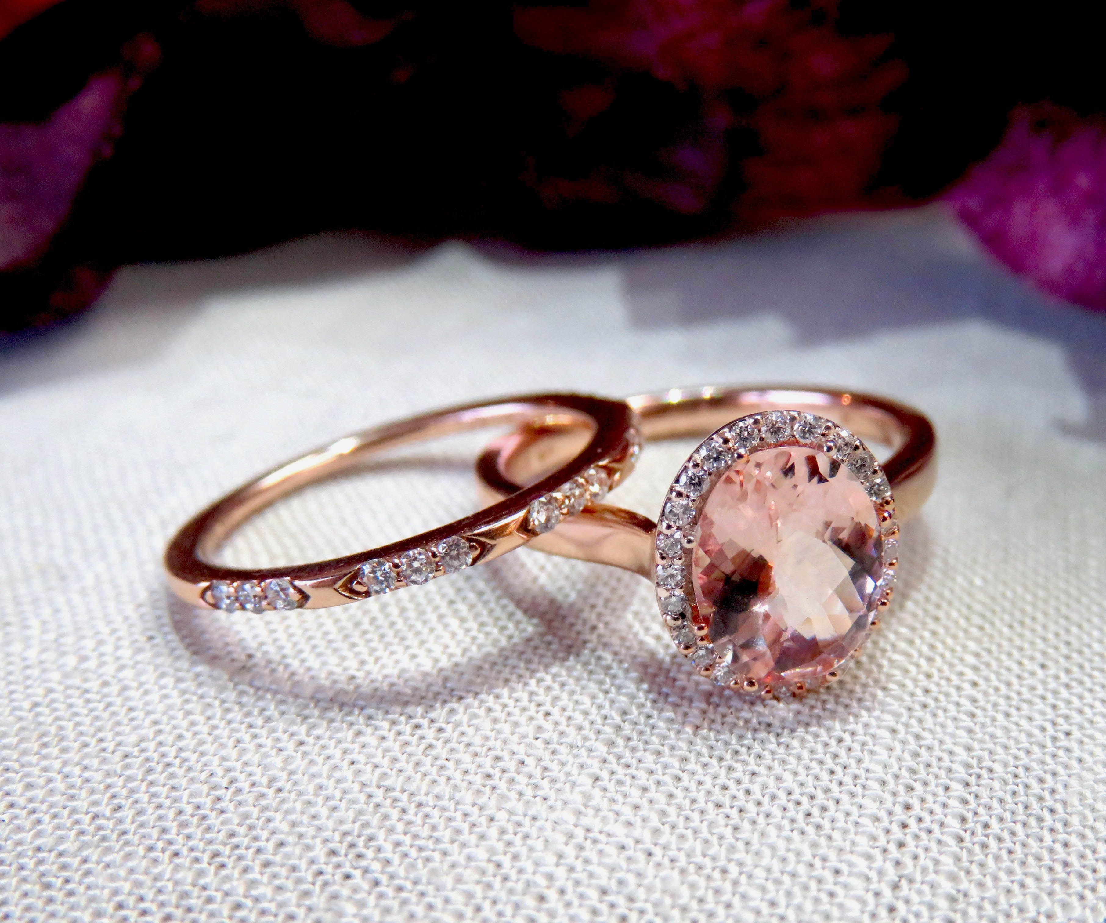 Morganite and diamond rose gold engagement ring and band at st
