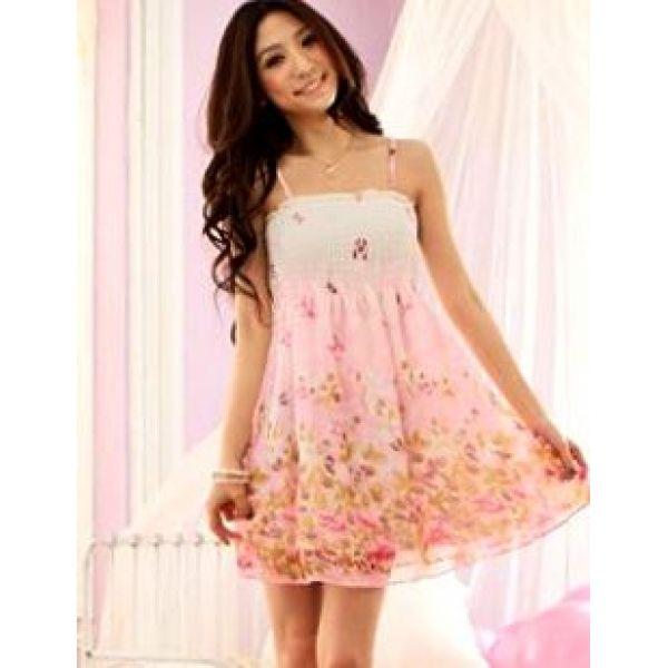 Pink Butterfly Printing Cute Cheap Chiffon Sundress | Fashion ...
