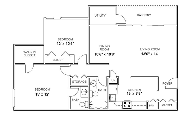 Image Result For Luxury 2 Bedroom Apartment Plans House