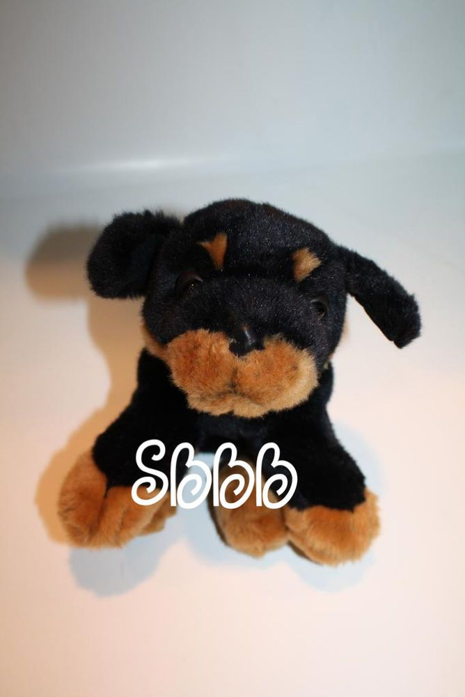 Fao Schwarz Stuffed Animal Dog Black Tan Rottweiler Puppy Missing