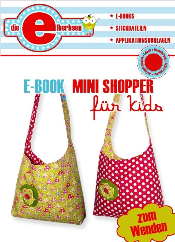 Kinder brauchen hübsche Taschen: Näh Deinem Kind jetzt diese bunte Wende-Tasche // Kinder-Tasche // Mini-Shopper-Tasche mit bequemem Schultergurt.