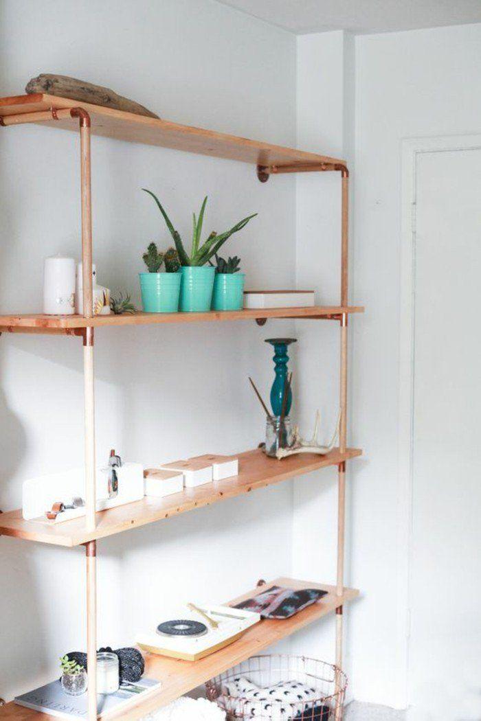 50 id es pour int grer le tube de cuivre dans votre d cor tag res du salon salon simple et. Black Bedroom Furniture Sets. Home Design Ideas