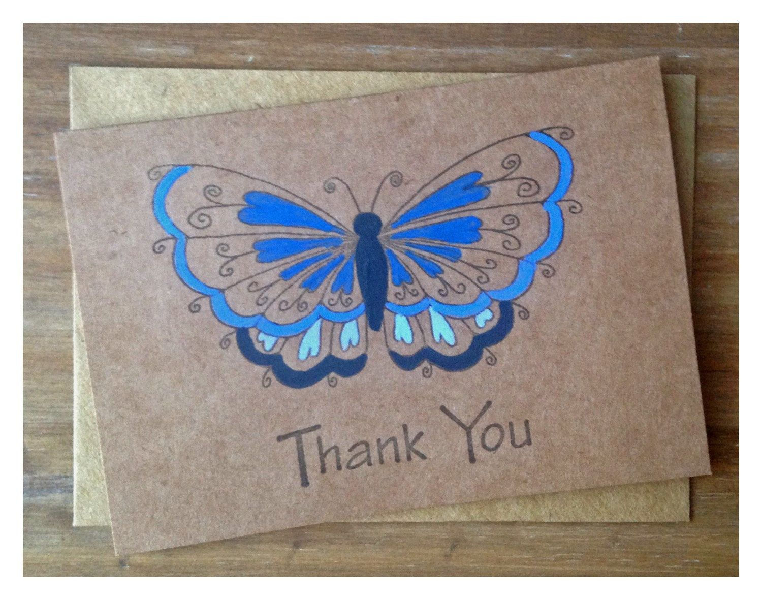 Set of 5 blue hand painted thank you cards xx