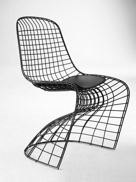 Ghost Chaise Design Metallique Facon Grillage Noir Empilable Fauteuil Design Scandinave Chaise Metal Fauteuil Design