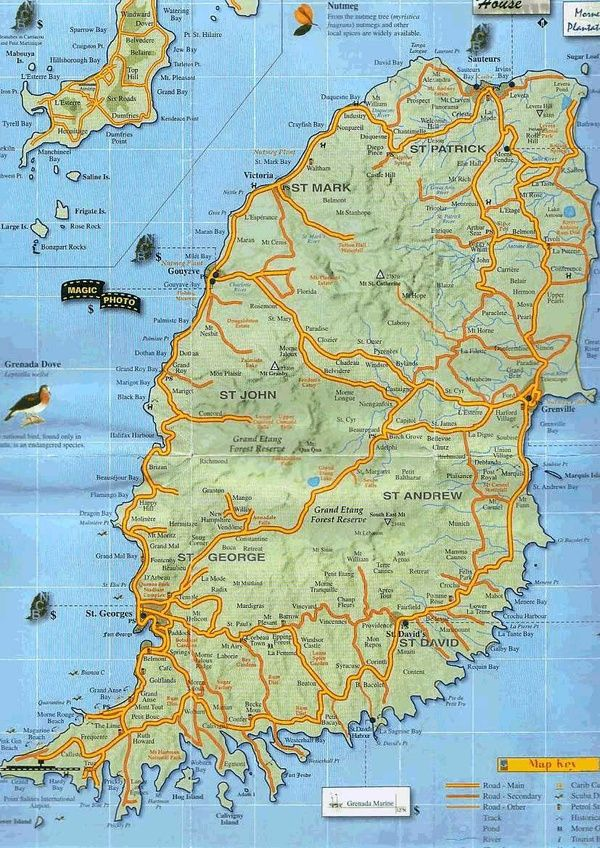 Map of Grenada West Indies Grenada West Indies Pinterest West