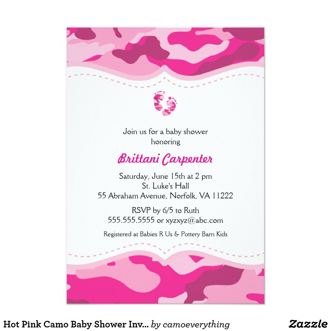Hot Pink Camo Baby Shower Invitation with feet | Pink camo baby ...