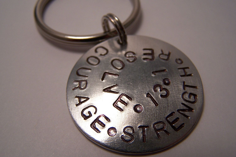Courage Strength Resolve Marathon Half Marathon Handstamped keychain for Runners 5K 10K 13.1 26.2. $14.00, via Etsy.