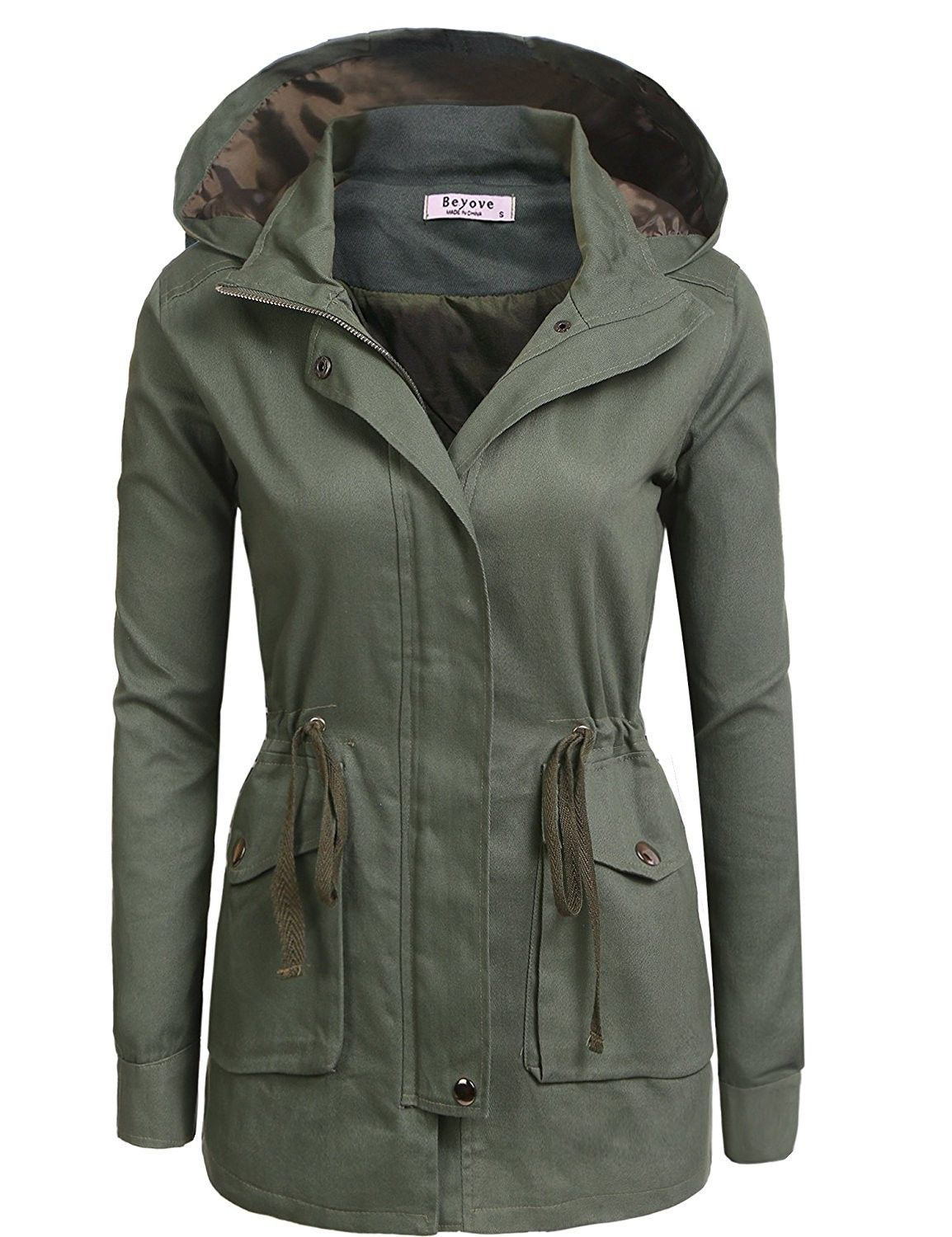 885a6a62779 JJ Perfection Womens Casual Lightweight Cotton Anorak Army Utility Jacket  OLIVE 3XL * Check out the image by visiting the … | Ladies' Coats and  Jackets ...