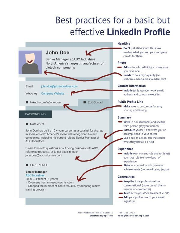 awesome Best practices for a basic but effective LinkedIn profile - resume linked in