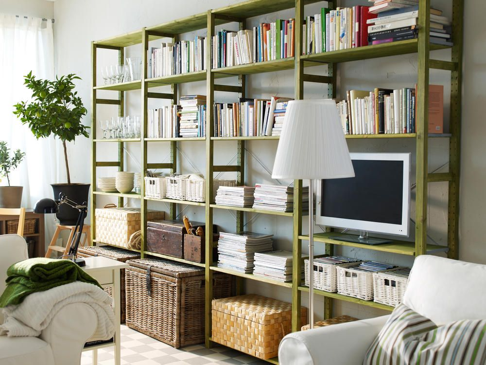 simple ikea ivar storage system in green home shelves storage pinterest storage and. Black Bedroom Furniture Sets. Home Design Ideas
