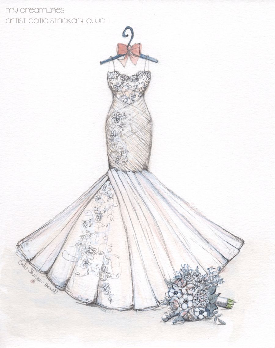 Wedding Dress Sketch With Bouquet Makes A Perfect Wedding Or Anniversary Gift Sketch By Cati Wedding Dress Illustrations Wedding Dress Sketches Dress Sketches