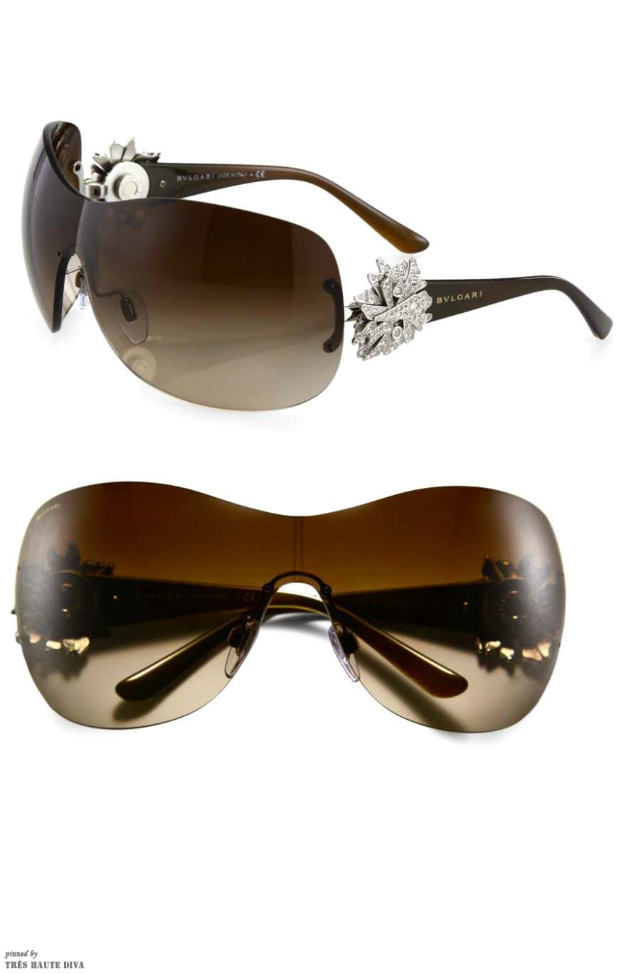cc4dee862b2 BVLGARI Crystal Starburst Oversized Shield Sunglasses