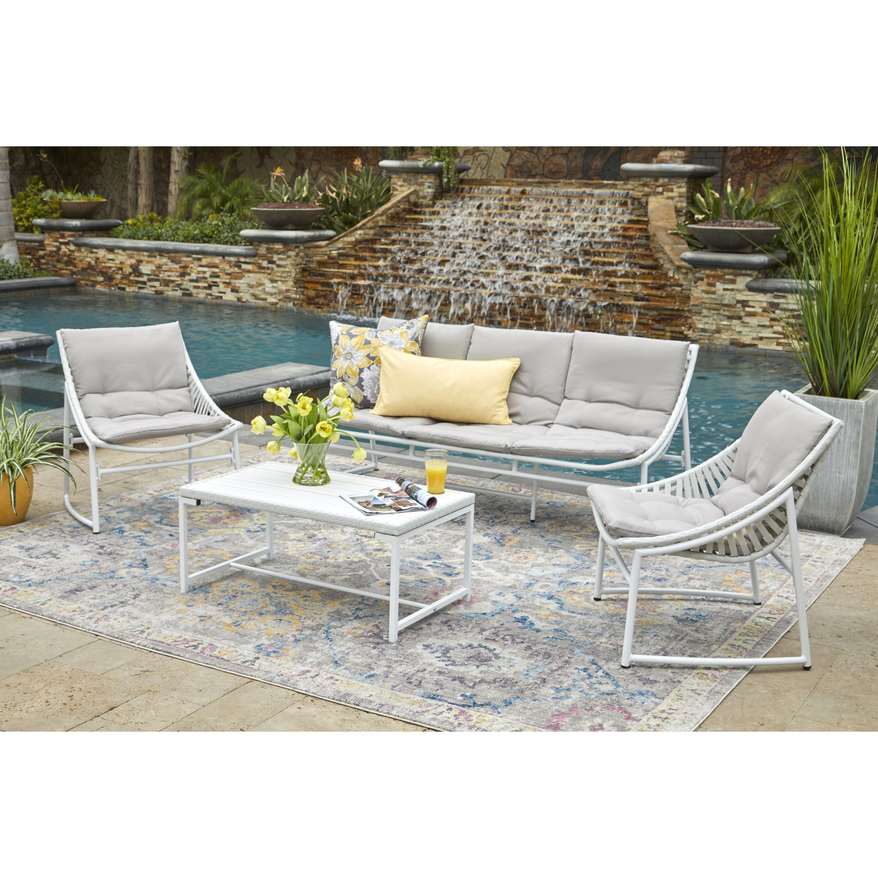 Havenside Home Plymouth 4 Piece Indoor Outdoor Sling Conversation Set With Grey Fabric Cushions White Patio Furniture Deals Havenside Home Patio Seating Sets