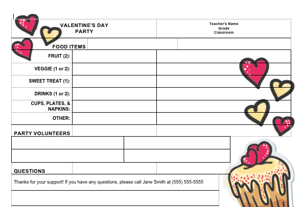 sign up sheet for valentine s day classroom party from pto today
