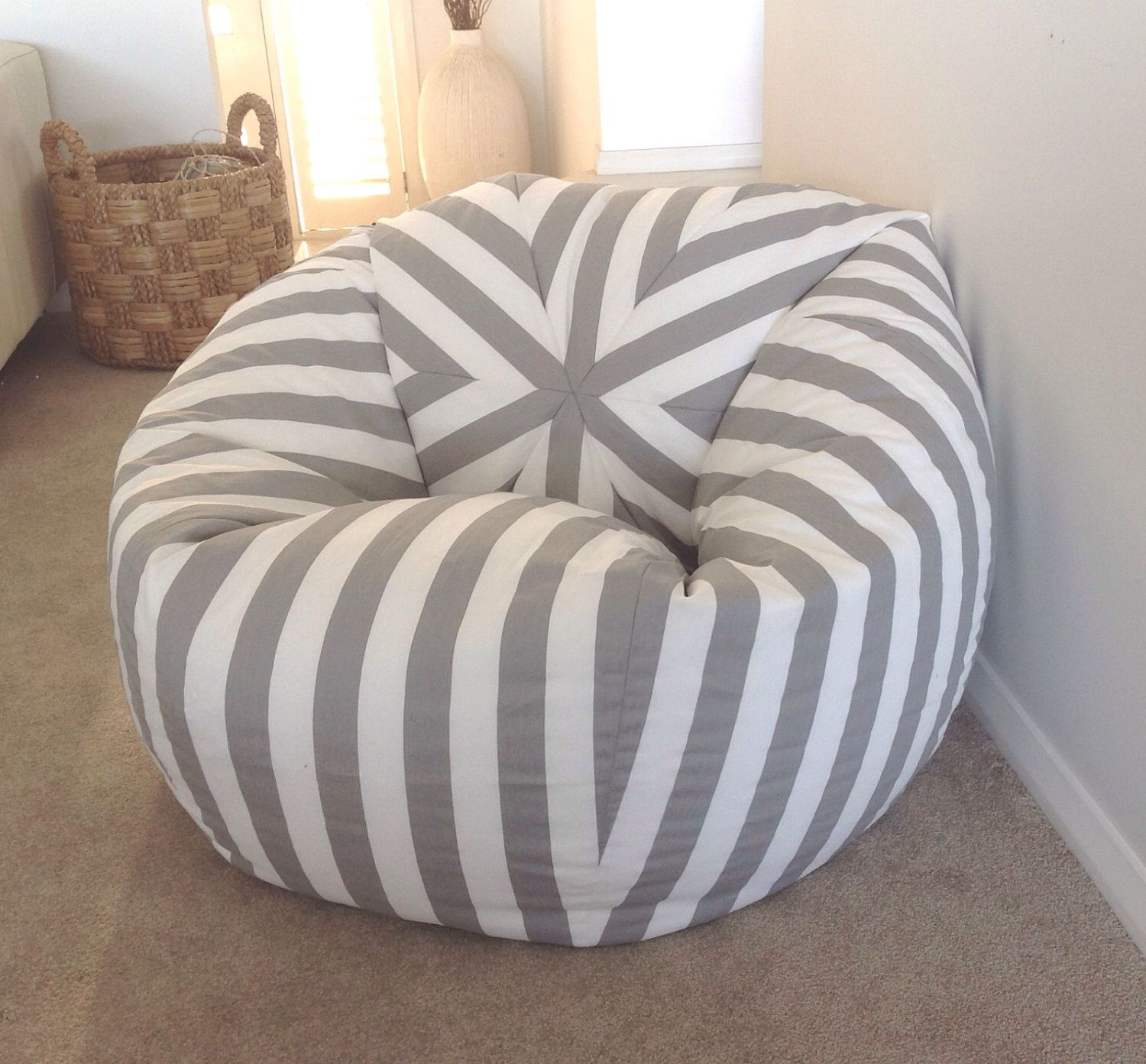 Bean bag chairs for teenage girls - Bean Bag Canopy Stripe Grey And White Stripes Bean Bag Cover Bean Bag Kids Bean Bags Nautical Navy Blue Yellow Grey Black Pink Red Teal