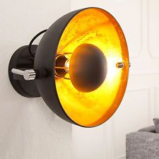 Wandleuchte Studio Schwarz Gold Lampe Blattgold Optik Lampen Leuchten Wandlampe