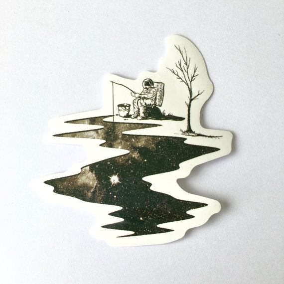 Astronaut Fishing For Stars Die Cut Vinyl By