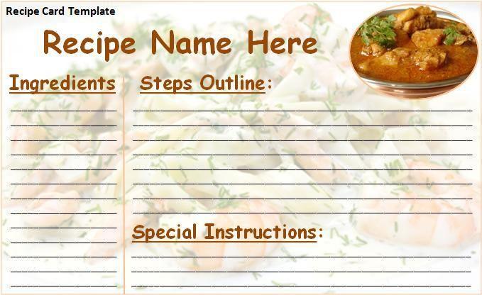 word templates recipes
