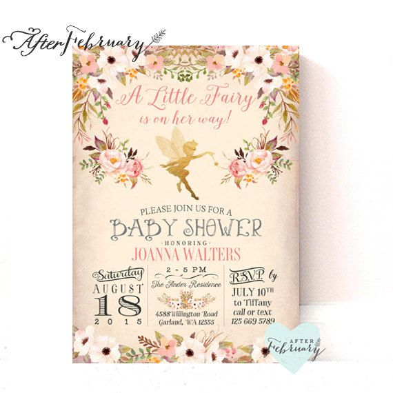 Fairy Baby Shower Invitation Enchanted By Afterfebruary