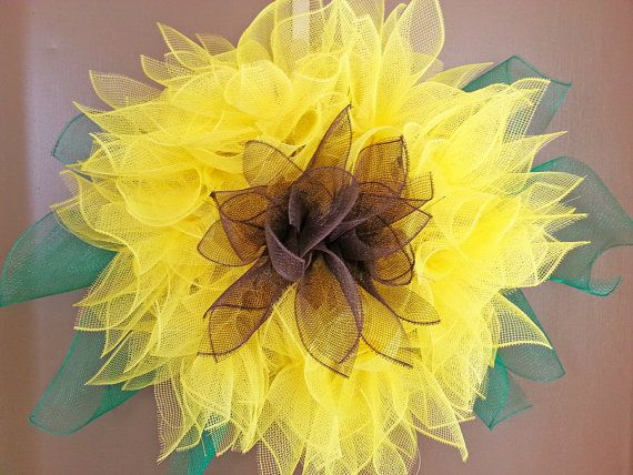Sunflower Deco Mesh Wreath by NOLACraftsbyDesign on Etsy #Sunflower #DecoMeshWreath #Etsy
